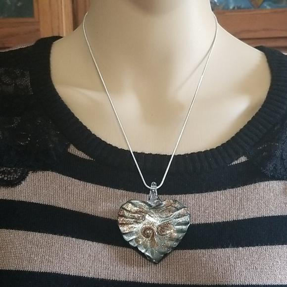 925 Reversible heart pendant necklace